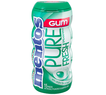 Mentos Pure Fresh Gum - Spearmint 15pc Pocket Bottle