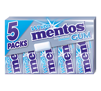 Mentos Gum White Peppermint 5-pack