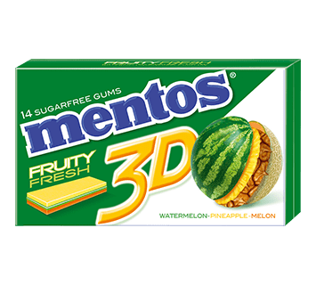 Mentos Gum 3D Watermelon Pineapple Melon 14p