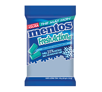 Sing Gum Mentos Fresh Action gói 112 g