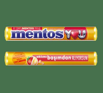 Mentos çilek ve muz aromalı çiğnenen draje şeker
