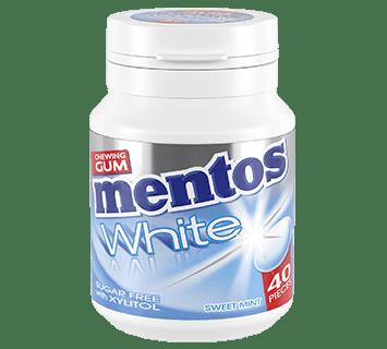 Mentos Gum White Sweet Mint pot