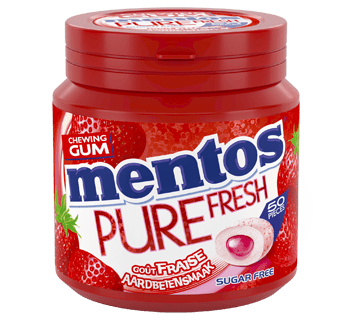 Mentos Gum Pure Fresh - Aardbei pot