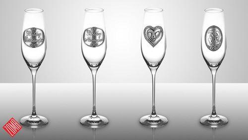 a-2 Fémcímkés pezsgőspohár 210 ml
