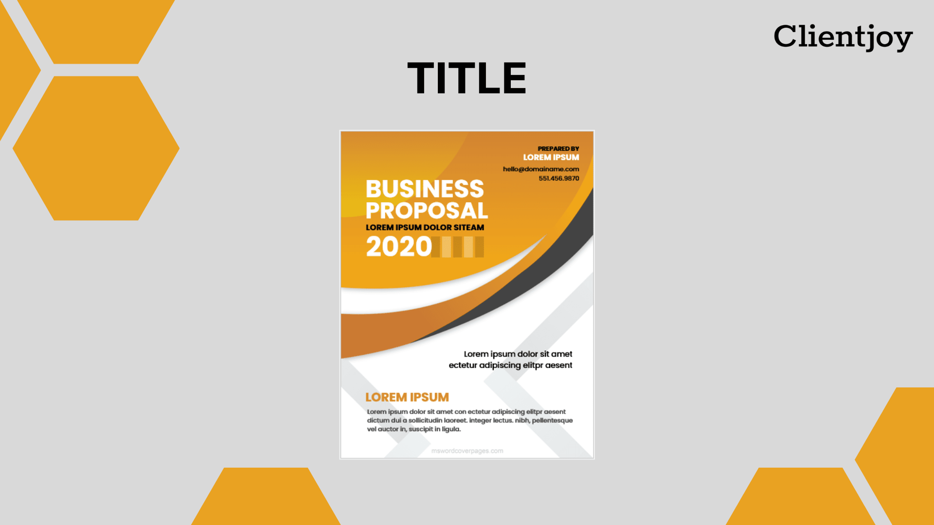 Business Proposal| Title Page