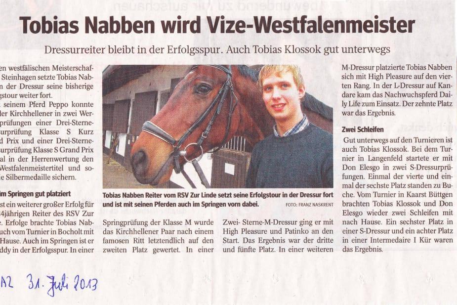 Tobias Nabben wird Vize-Westfalenmeister