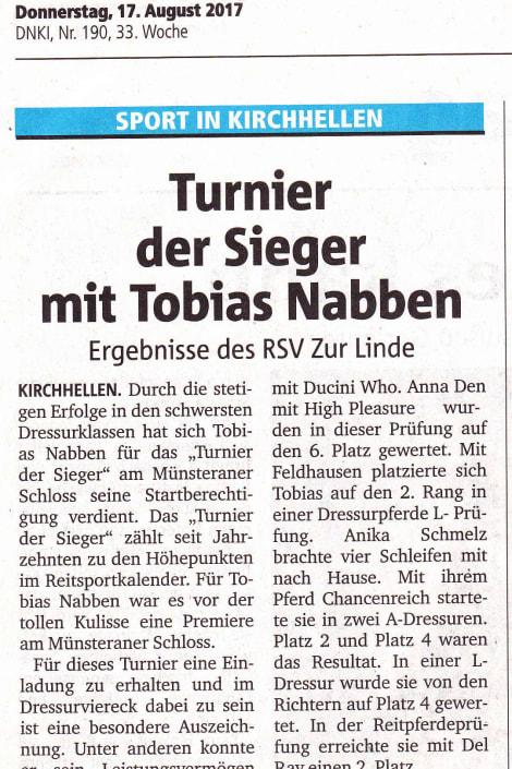 Turnier der Sieger mit Tobias Nabben