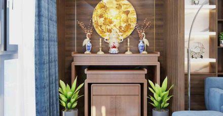 15 mẫu bàn thờ gỗ với thiết kế đẹp trang nghiêm