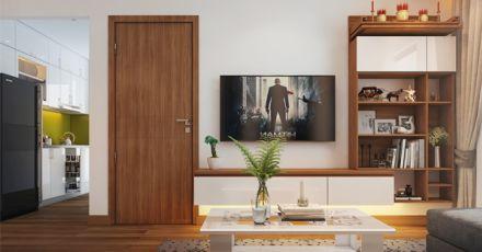 Thiết kế nội thất phòng khách có bàn thờ tại TPHCM