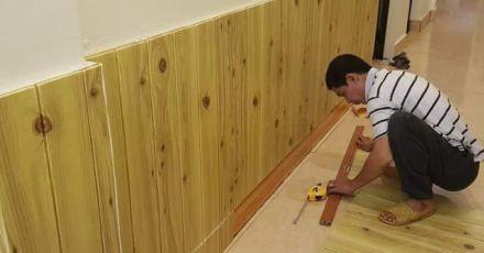 Thi công giấy dán tường vân gỗ đẹp miễn chê tại TPHCM