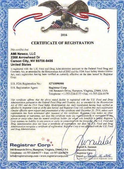 Certificate Of Fda Registered Facility Aloha Medicinals