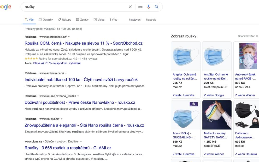 Reklama na roušky a respirátory – Google Ads, Sklik, Facebook Ads