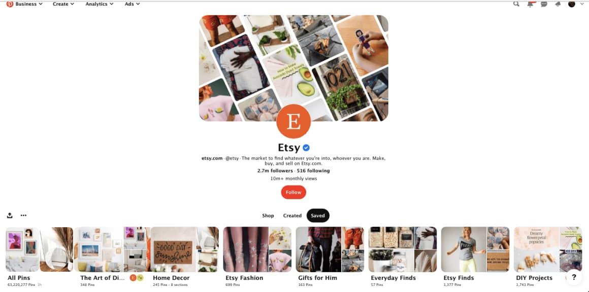 Etsy je globálním hráčem, který využívá potenciálu Pinterestu v celé své kráse. Doporučuji prozkoumat pro inspiraci.