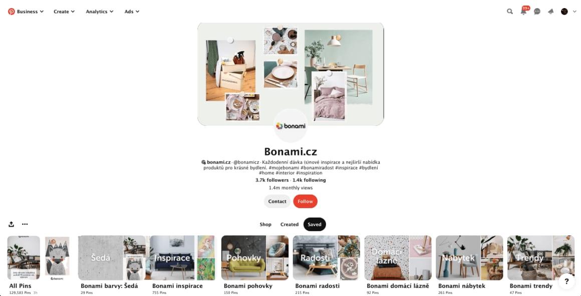 Bonami je jeden z mála českých podniků, který na sociální síti Pinterest prezentuje správným způsobem. Většina firem umí dobře Facebook a Instagram, ale málokterá z nich dobře uchopila Pinterest.