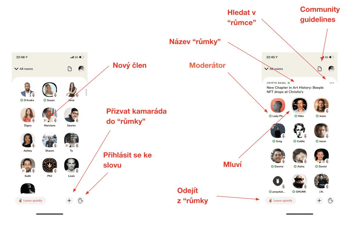 Vzhled aplikace uvnitř růmky obsahuje několik znaků a ikonek. Tyto ikonky vám usnadňují komunikaci v růmce.