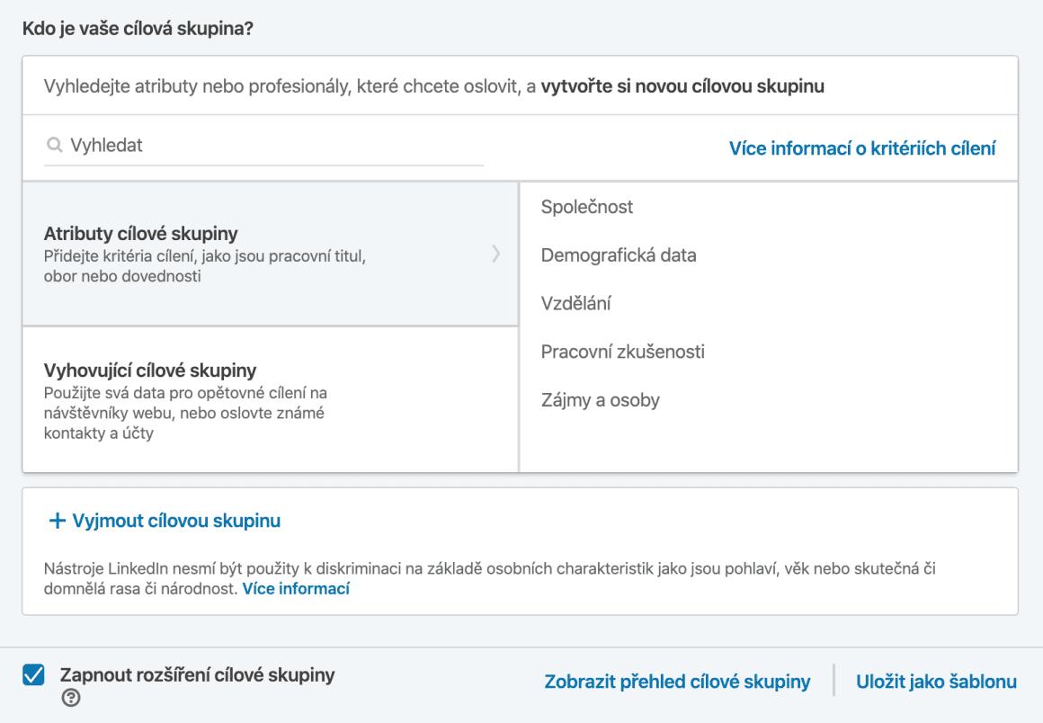 Cílové skupiny na LinkedInu jsou menší než na Facebooku a Instagramu. Nejenom, že uživatelů na LinkedInu není tolik, ale hlavně je můžete dost detailně specifikovat. Opět si dávejte pozor, aby skupina nebyla moc malá, pak je možné, že by se vám reklama nemusela rozeběhnout.