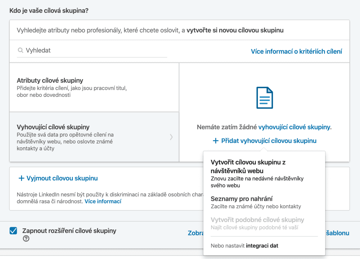 Přehnaná segmentace u LinkedIn reklamy také není ideální variantou. Doporučuji cílovou skupinu držet v desítkách tisících, až stovkách tisíců. Jednotky tisíců nebo stovky lidí je velice malá cílovka a reklama se nejspíš nerozjede a nebo bude příliš drahá.