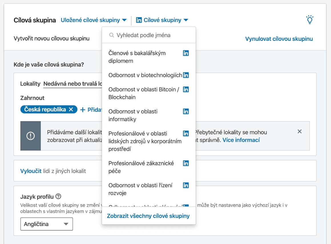 U cílové skupiny si nejprve projděte veškeré možnosti LinkedIn reklamy, teprve poté se pokuste vybrat cílovou skupinu, která bude odpovídat vaší cílové skupině, na kterou chcete reklamu cílit.