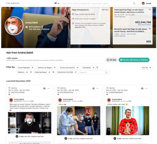 Andrej Babiš a jeho politická reklama na Facebooku a Instagramu. Jak najít Facebook reklamu konkurence v rámci politiky? Není nic jednoduššího než se u konkurence inspirovat. A že to Andrej (jeho tým) dělá výborně.