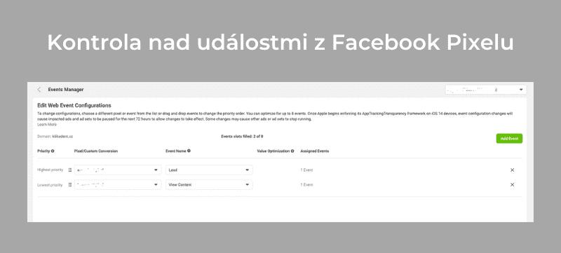 Díky ověření domény na Facebooku taktéž můžete měnit priority a množství událostí, na které můžete v rámci optimalizace konverzních kampaní optimalizovat.
