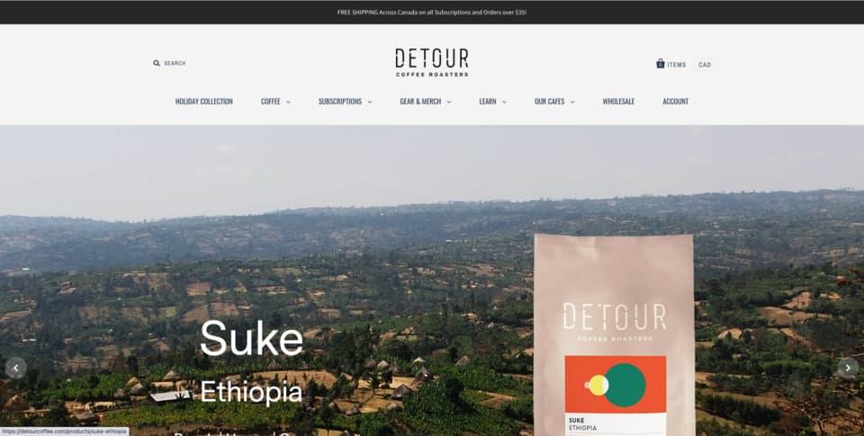 Detour e-shop na platformě Shopify - nádherný e-shop se všemi funkcionality e-commerce řešení Shopify.