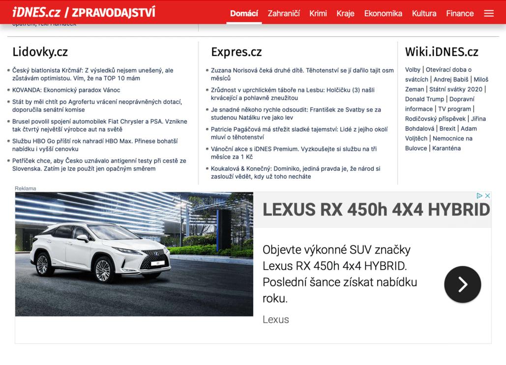 Displejová reklama se může zobrazovat na spoustě webech a portálech. Ať už se jedná o reklamu v Google Ads nebo Sklik.