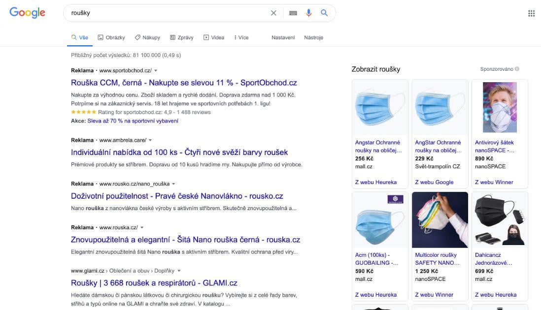 Reklamy na zdravotnické roušky mohou být v Google Ads omezené. TO neznamená, že žádné takové nemůžete najít, mohou tma být jisté podmínky, za kterých lze takovou reklamu spustit.