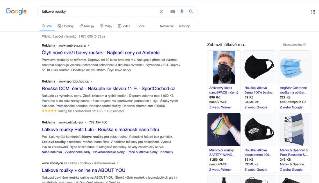 Reklama na roušky, které jsou vyrobené z látky, by měla bez problémů fungovat v Google Ads a to právě z důvodu, že se nejedná o medical prostředek, ale v podstatě o fashion doplněk.