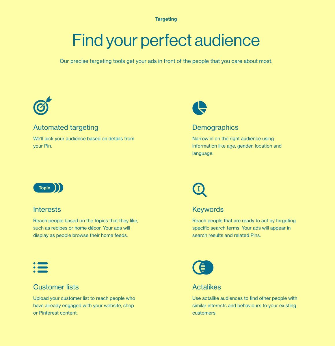 Cílení je alfa a omega kterékoliv online platformy a sociální sítě. Většinou se jedná o kombinaci soc-demo cílení, zájmovéno cílení a také případných custom audiences, případně actlikes / lookalikes. Některé sítě nabízí cílení na klíčová slova (Pinteret a Twitter).