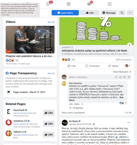 Druhou variantou jak se dostat do Facebook Ads Library a najít Facebook reklamu vaší konkurence je, když půjdete skrze Facebook stránku vaší konkurence.