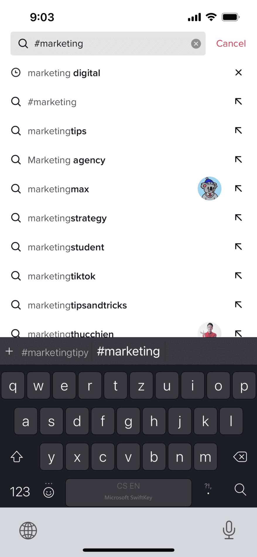 Vyhledávání dle klíčových slov na TikToku je podobně intuitivní jako na Instagramu. Aplikace vám poskytuje mnoho návrhů, které souvisí s vaším vyhledávacím dotazem.