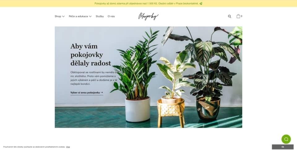Český e-shop Pokojovky na Shopify řešení. Minimalistický eshop, který se designově řadí ke špičce.