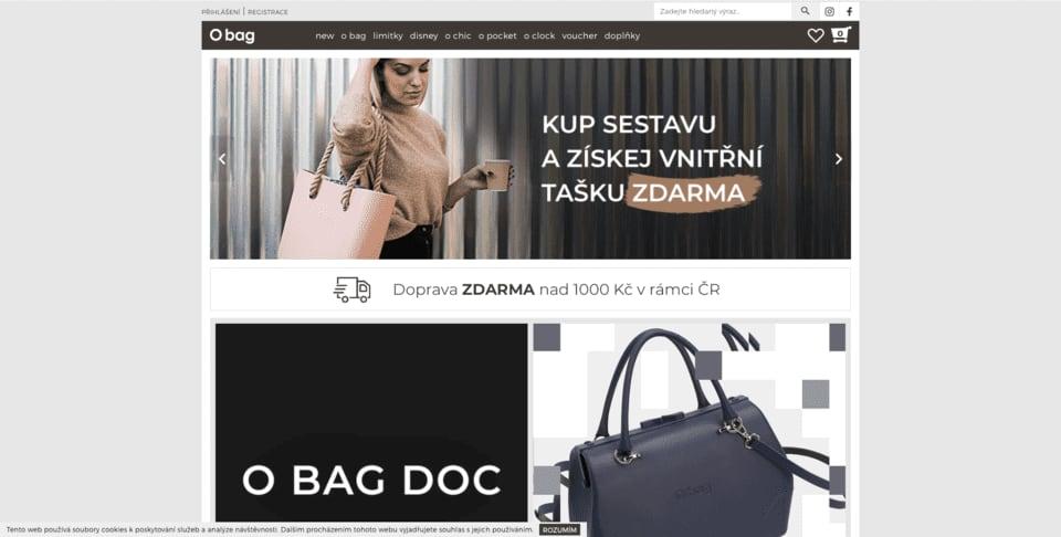 O bag také frčí na platformě Shoptet. Tento e-shop také prošel custom edity pomocí kodéra.