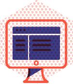 Monitor showing website mockups