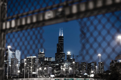 Sears Tower from the Chicago street bridge.