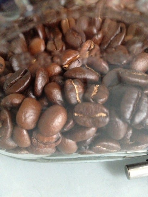 Home roasted coffee beans up close