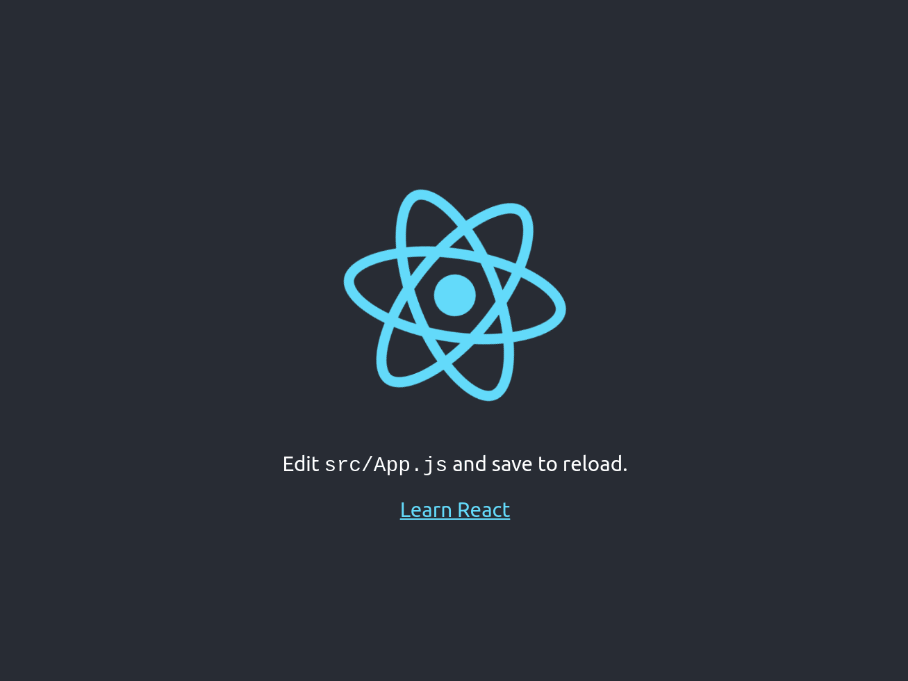 Initial React screen