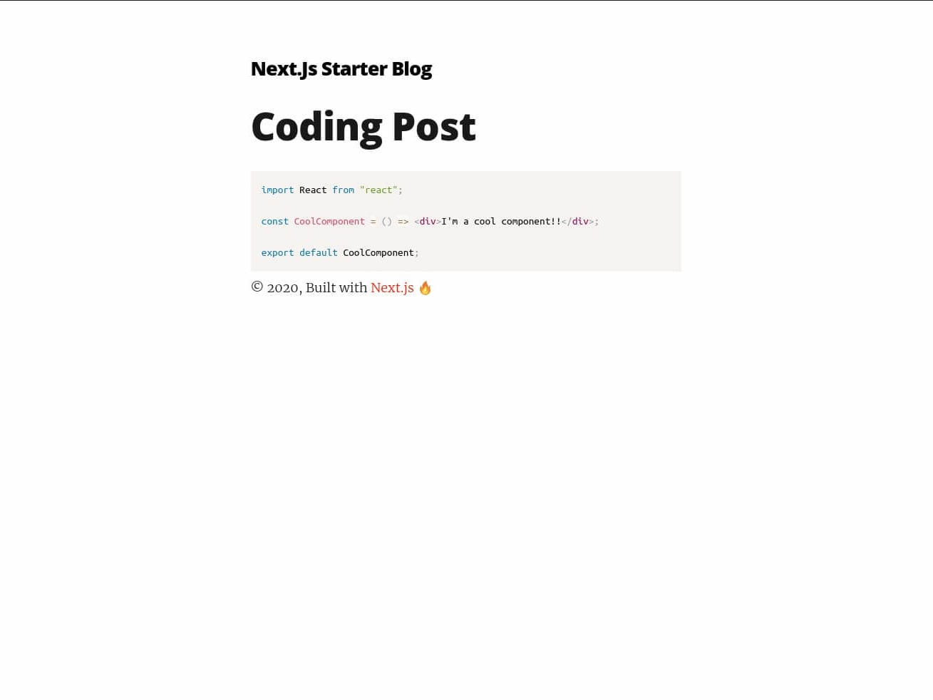 Post with highlighted code snippet