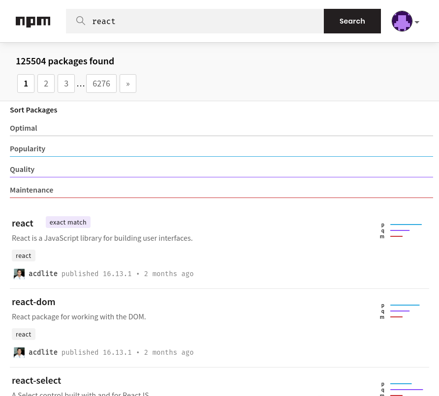 Npm search with results for React