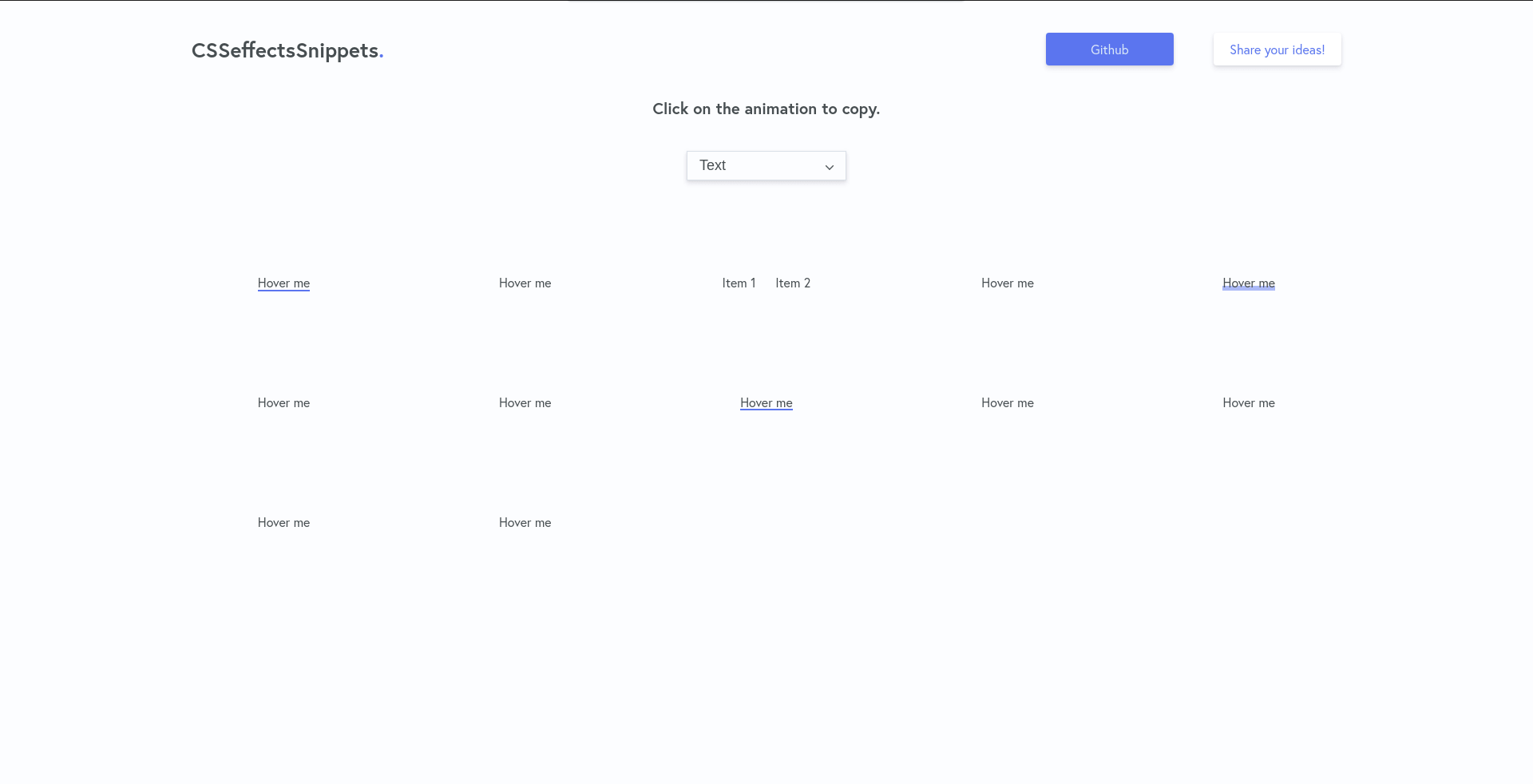 CSSeffectsSnippets landing page