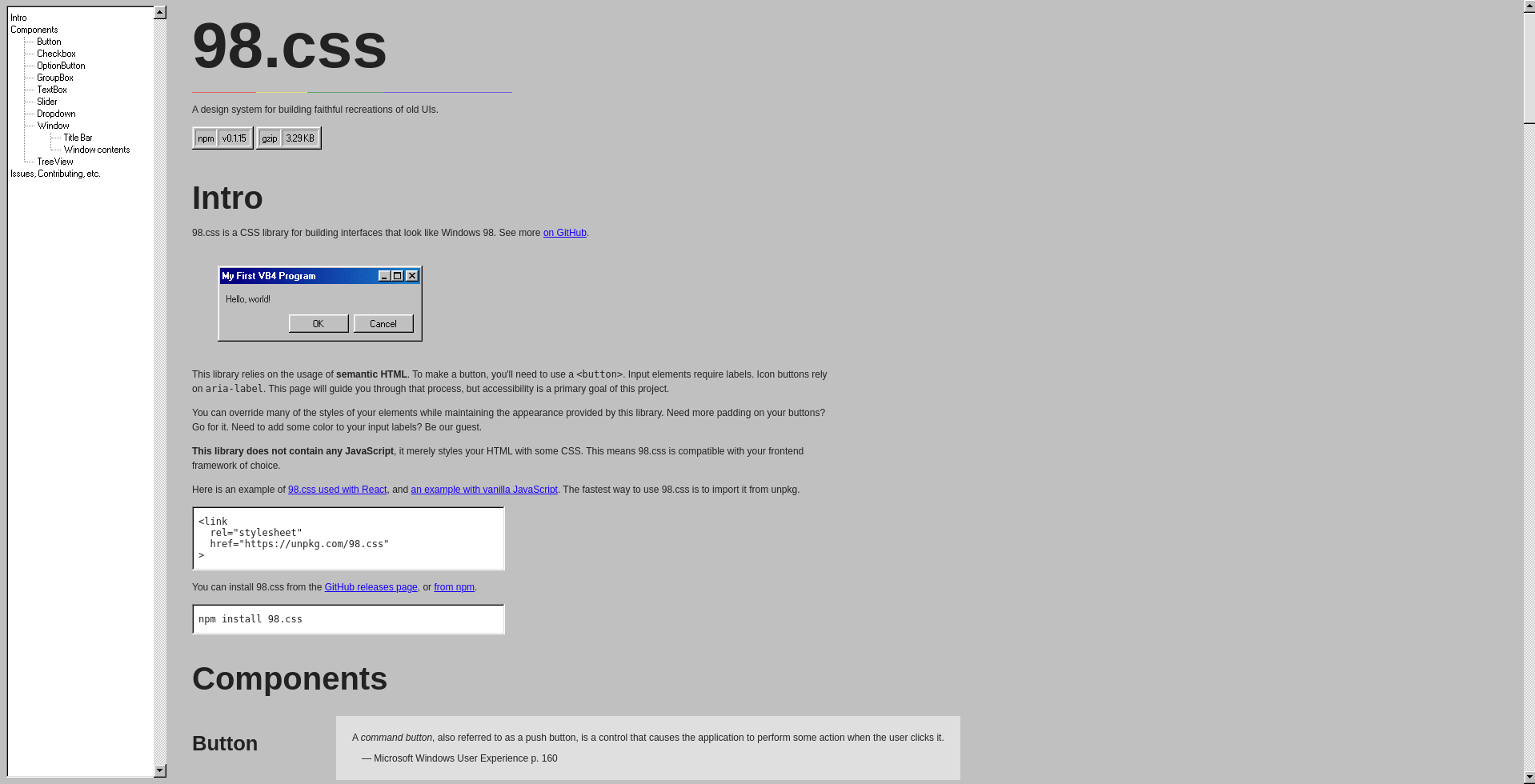 98.css landing page