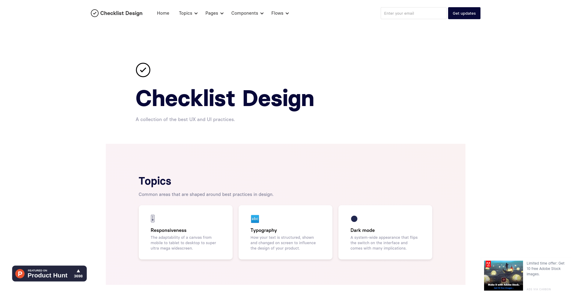 Checklist Design landing page