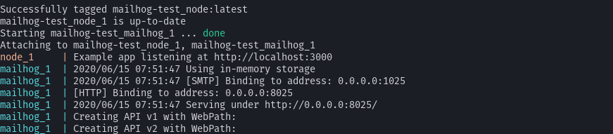 Mailhog and server initialized with Docker