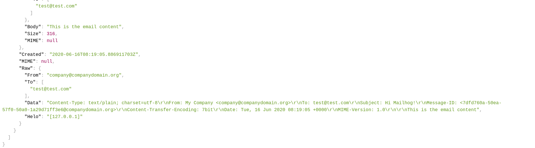 Queried email JSON