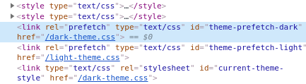 Style tags before pre-fetched stylesheets.