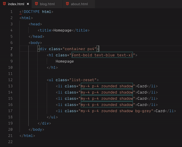Refactor CSS showing duplicate classes.