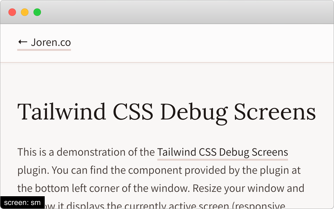 Tailwind CSS Debug Screens showing current screen breakpoint
