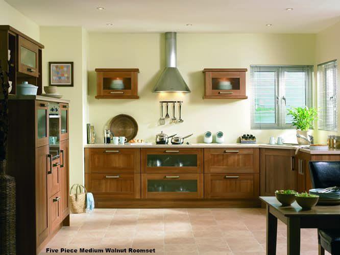 Five Piece Medium Walnut Roomset1a