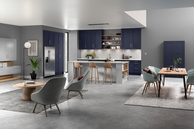 Loxley Marine Blue Light Grey Kitchen