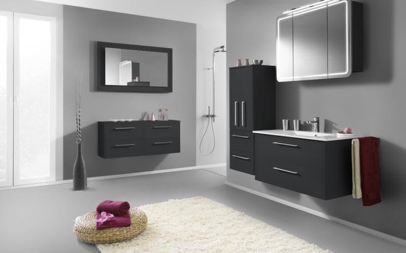 Treviso Handle-less Gloss Anthracite Bathroom